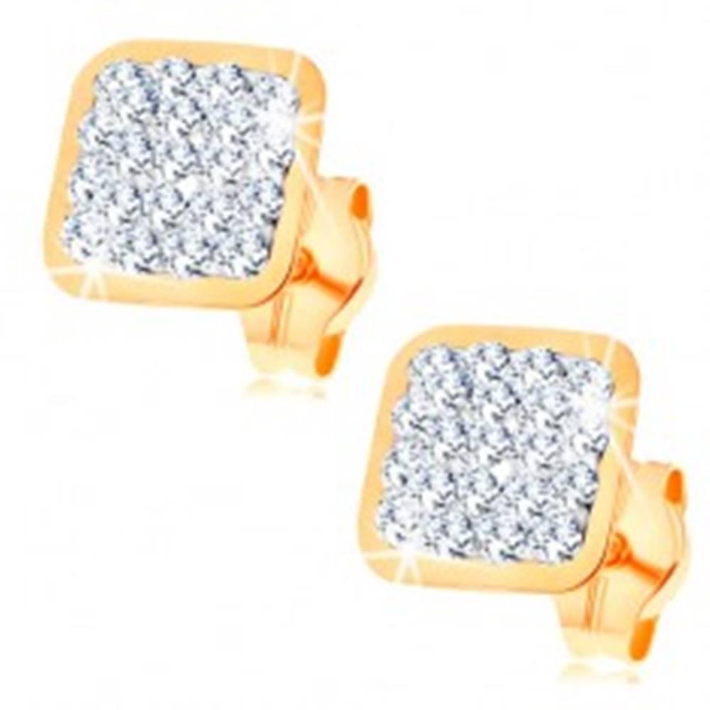 Šperky eshop Náušnice v žltom 14K zlate - štvorček vykladaný čírymi Swarovského krištáľmi