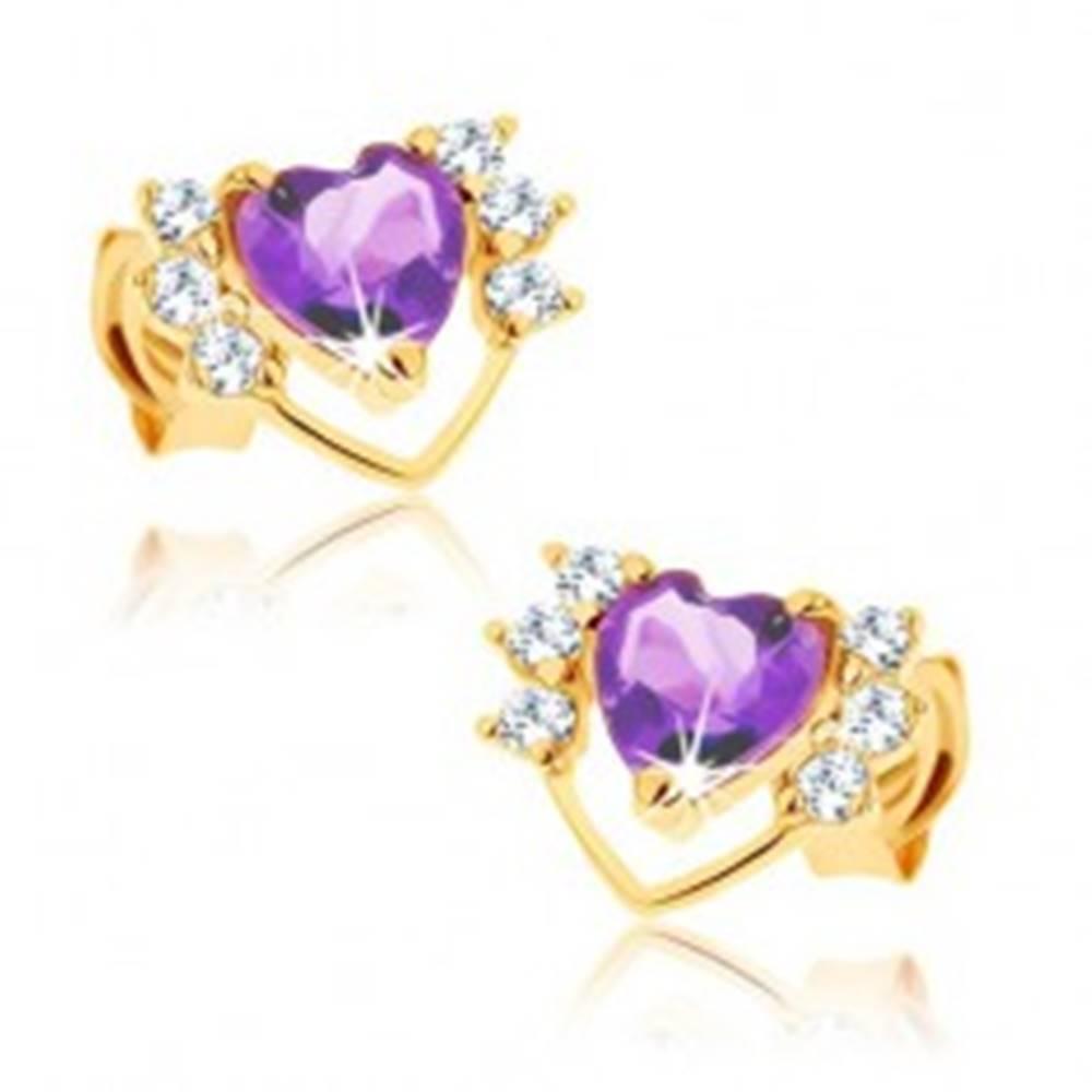 Šperky eshop Náušnice v žltom 9K zlate - fialový ametyst, tenká kontúra srdca, číre zirkóniky