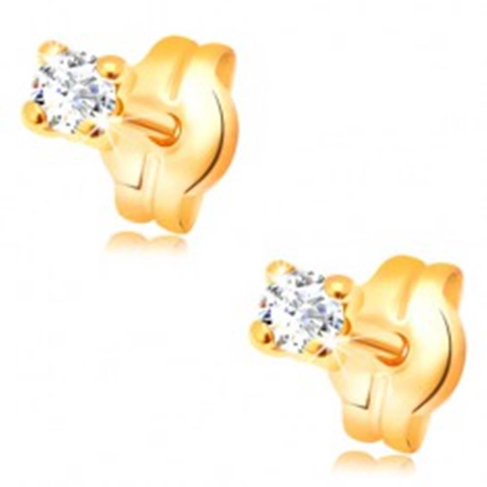 Šperky eshop Náušnice v žltom zlate 585 - okrúhly transparentný zirkón, 2 mm