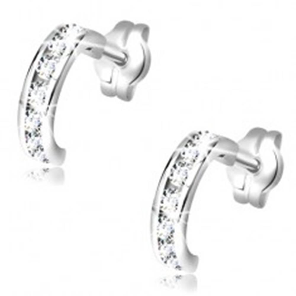 Šperky eshop Náušnice z bieleho 14K zlata - malé polkruhy vykladané čírymi zirkónmi