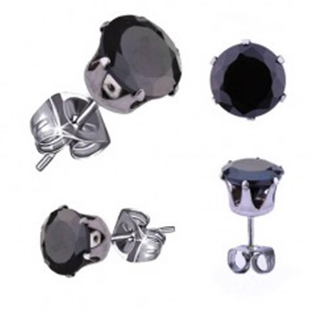 Šperky eshop Náušnice z ocele 316L, strieborná farba, okrúhly zirkón čiernej farby, 3 mm