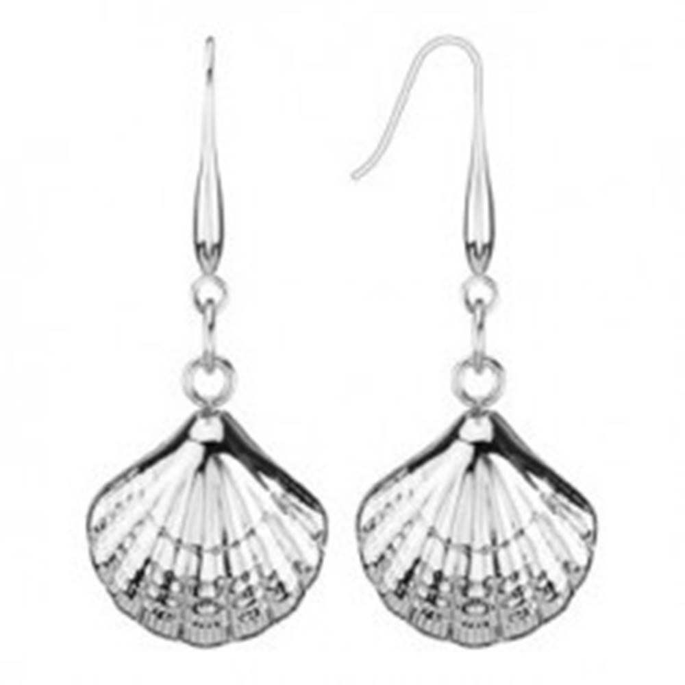 Šperky eshop Náušnice z ocele 316L - tvar morské mušle na háčiku