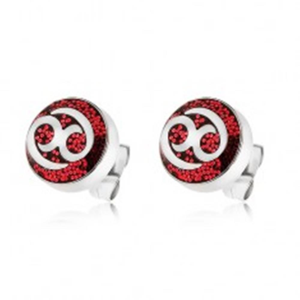 Šperky eshop Náušnice z ocele 316L zdobené červenými trblietkami s ornamentom