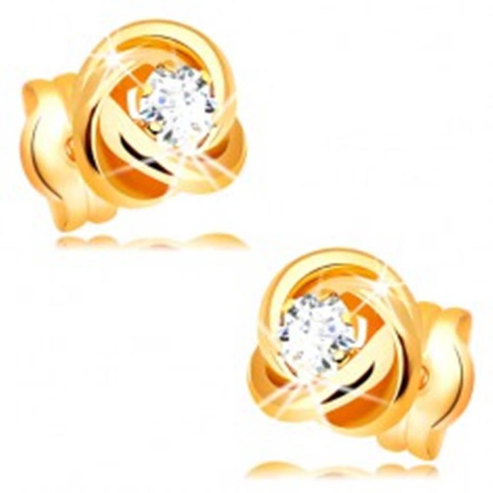 Šperky eshop Náušnice zo žltého 14K zlata - lesklý uzol z troch obručí, číry zirkón v strede