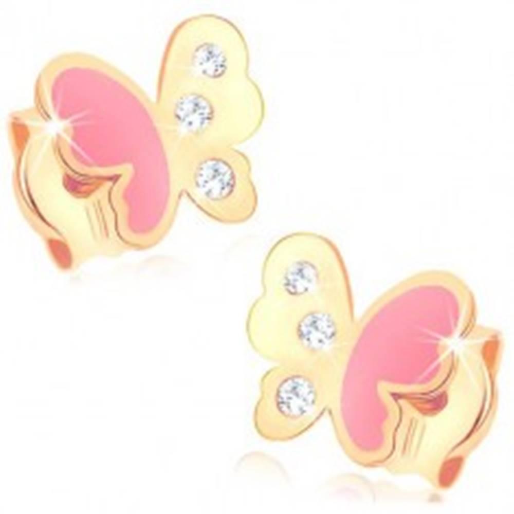 Šperky eshop Náušnice zo žltého 14K zlata, motýlik zdobený ružovou glazúrou a zirkónmi