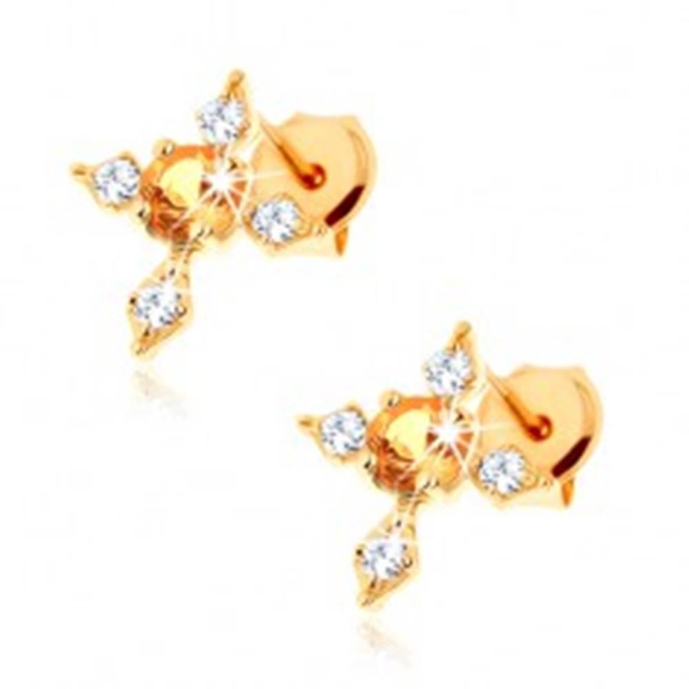 Šperky eshop Náušnice zo žltého 9K zlata - kríž s čírymi zirkónovými ramenami, žltý citrín