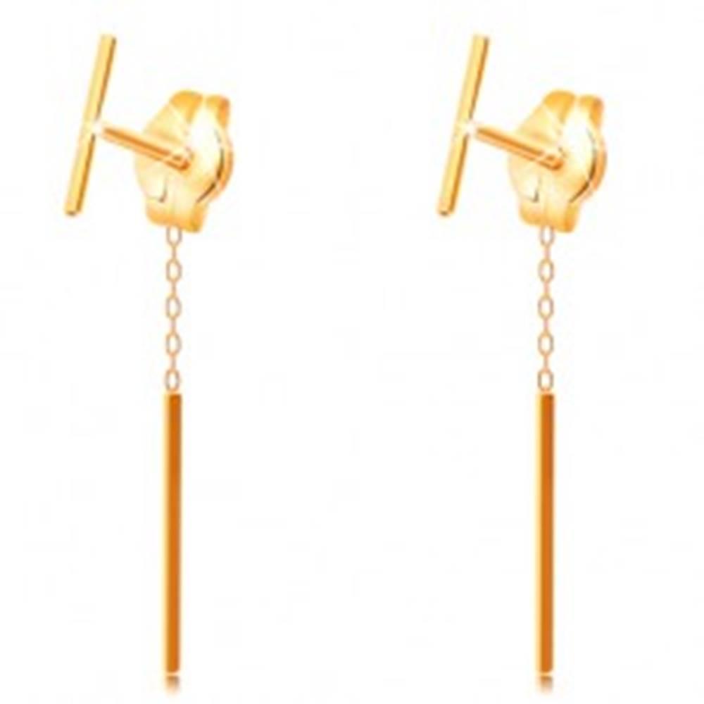Šperky eshop Náušnice zo žltého zlata 585 - tenká rovná palička, brzdítko s retiazkou