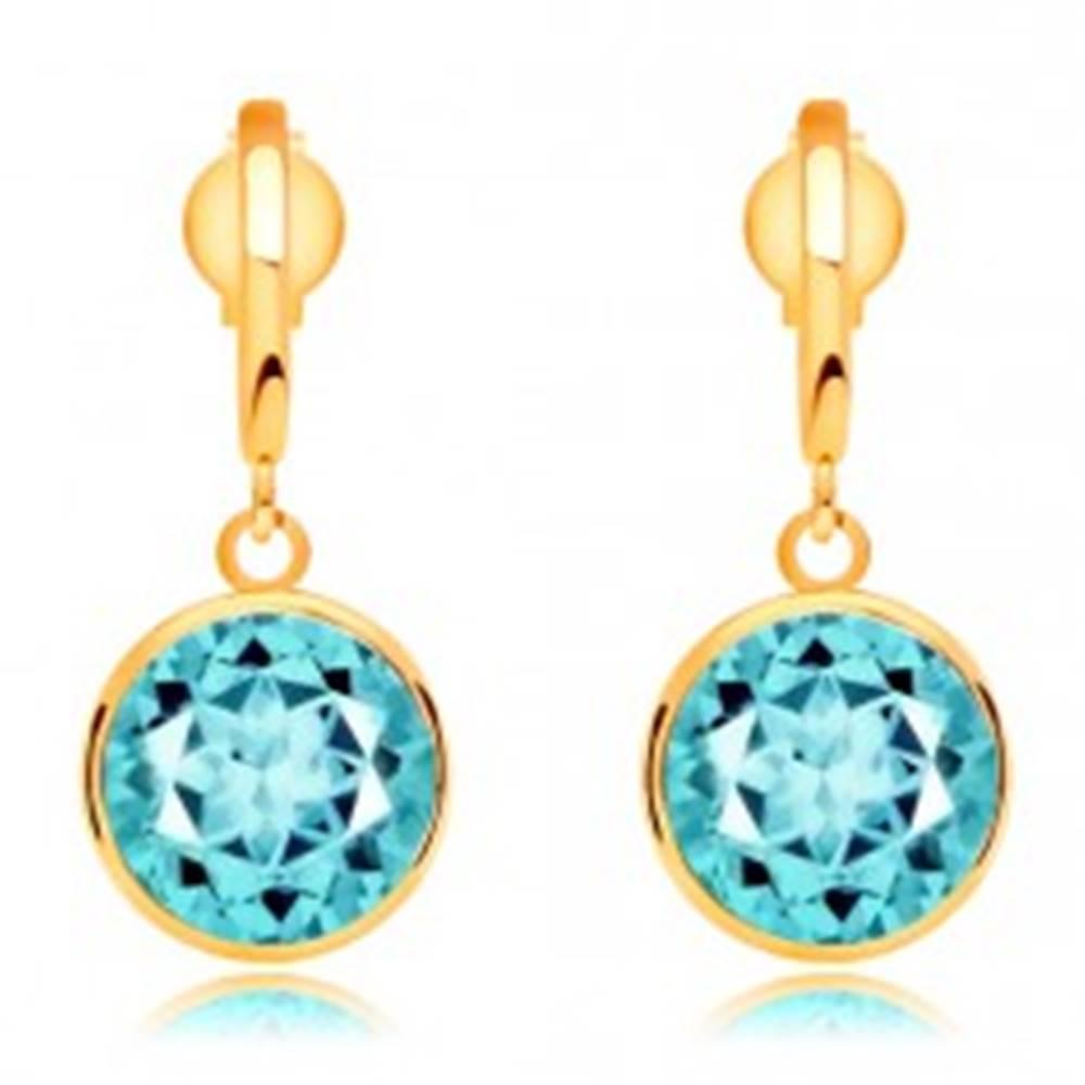Šperky eshop Náušnice zo žltého zlata 585 - úzky oblúčik a brúsený topás modrej farby