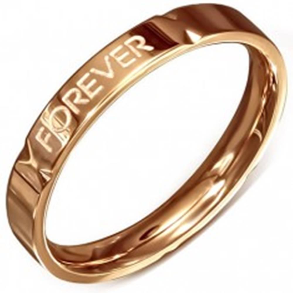 """Šperky eshop Obrúčka ružovozlatej farby - oceľová, """"Forever Love"""" - Veľkosť: 49 mm"""