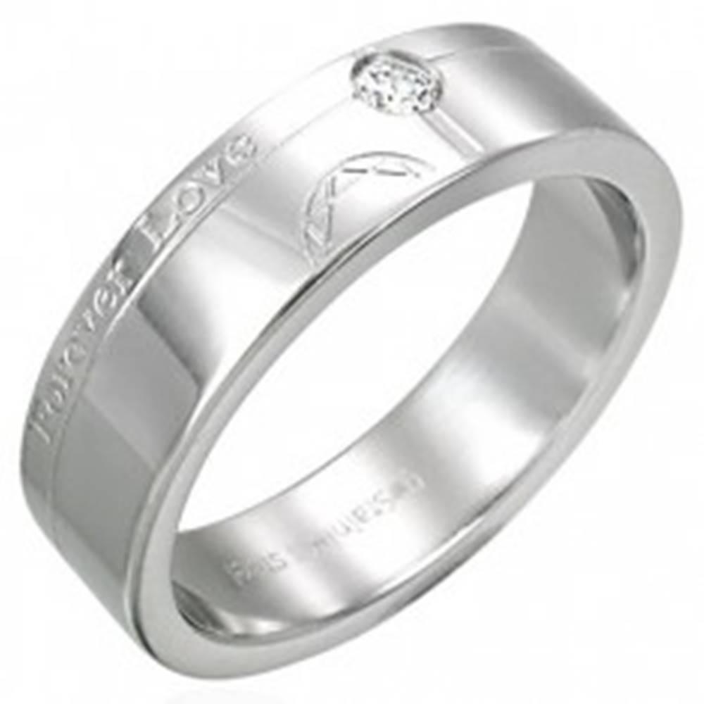 Šperky eshop Oceľová obrúčka - Forever Love, zirkón - Veľkosť: 54 mm
