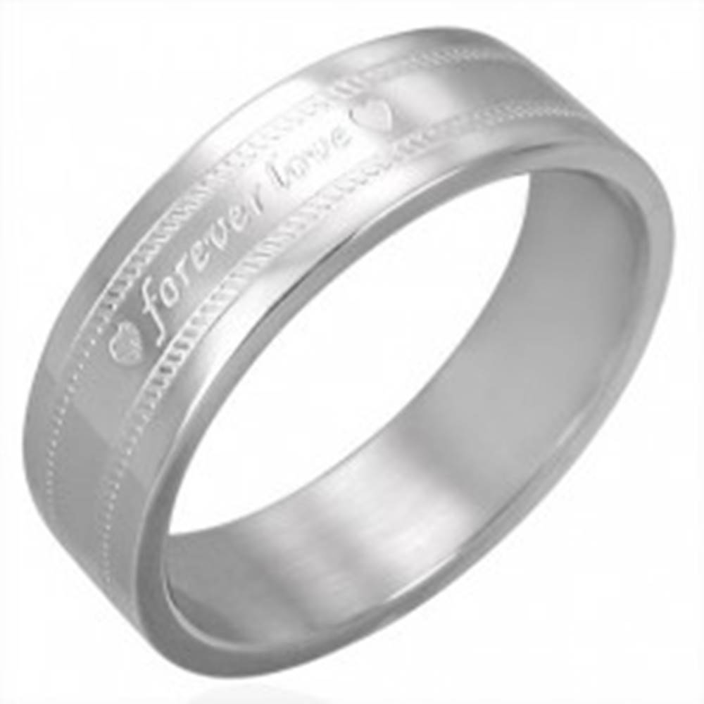 Šperky eshop Oceľová obrúčka s gravírovaním FOREVER LOVE - Veľkosť: 54 mm