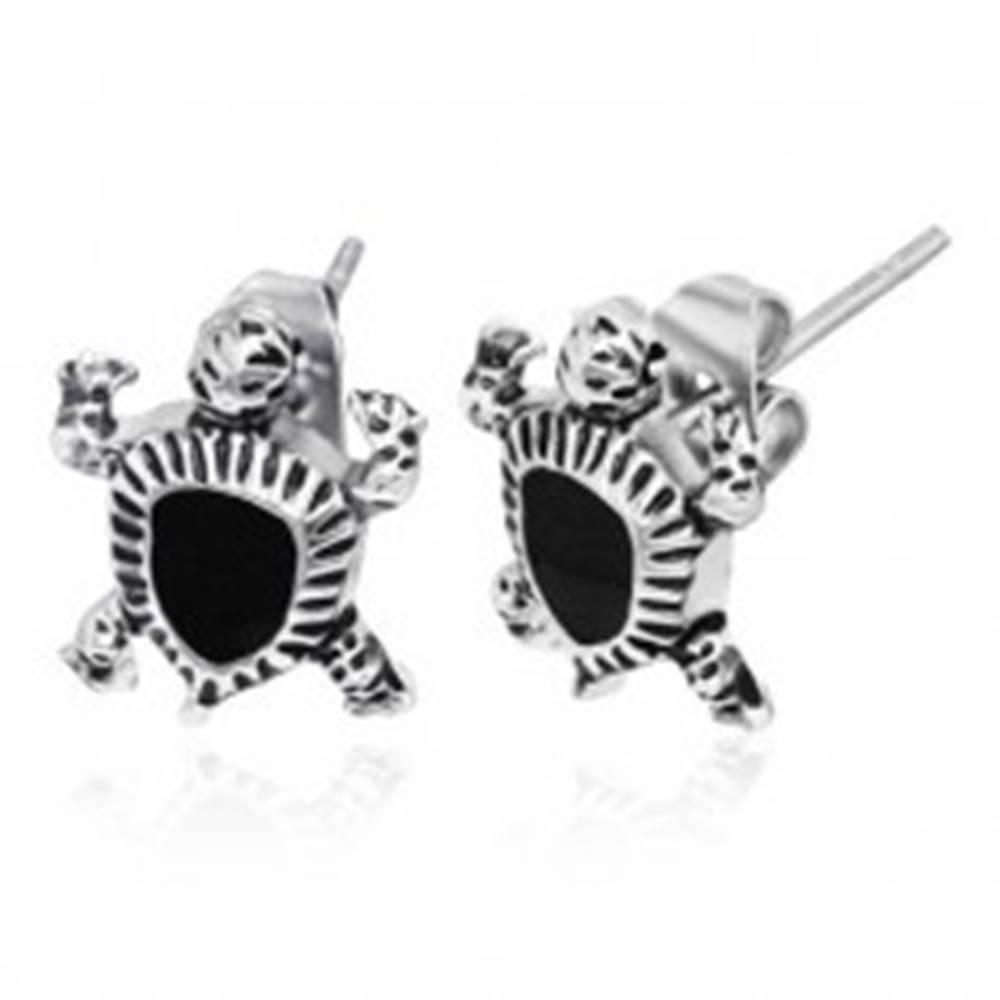 Šperky eshop Oceľové náušnice - malá morská korytnačka, čierna glazúra