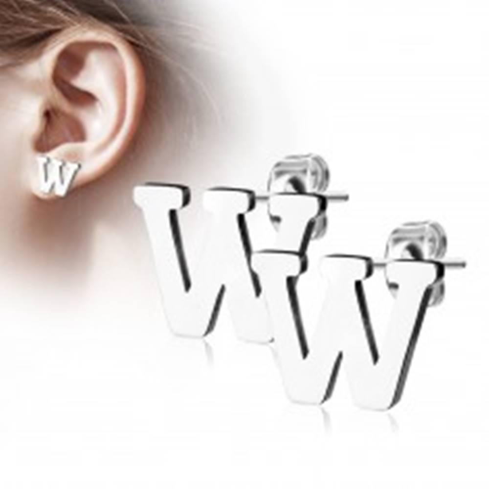 Šperky eshop Oceľové náušnice v striebornom odtieni - veľké tlačené písmeno W, vysoký lesk