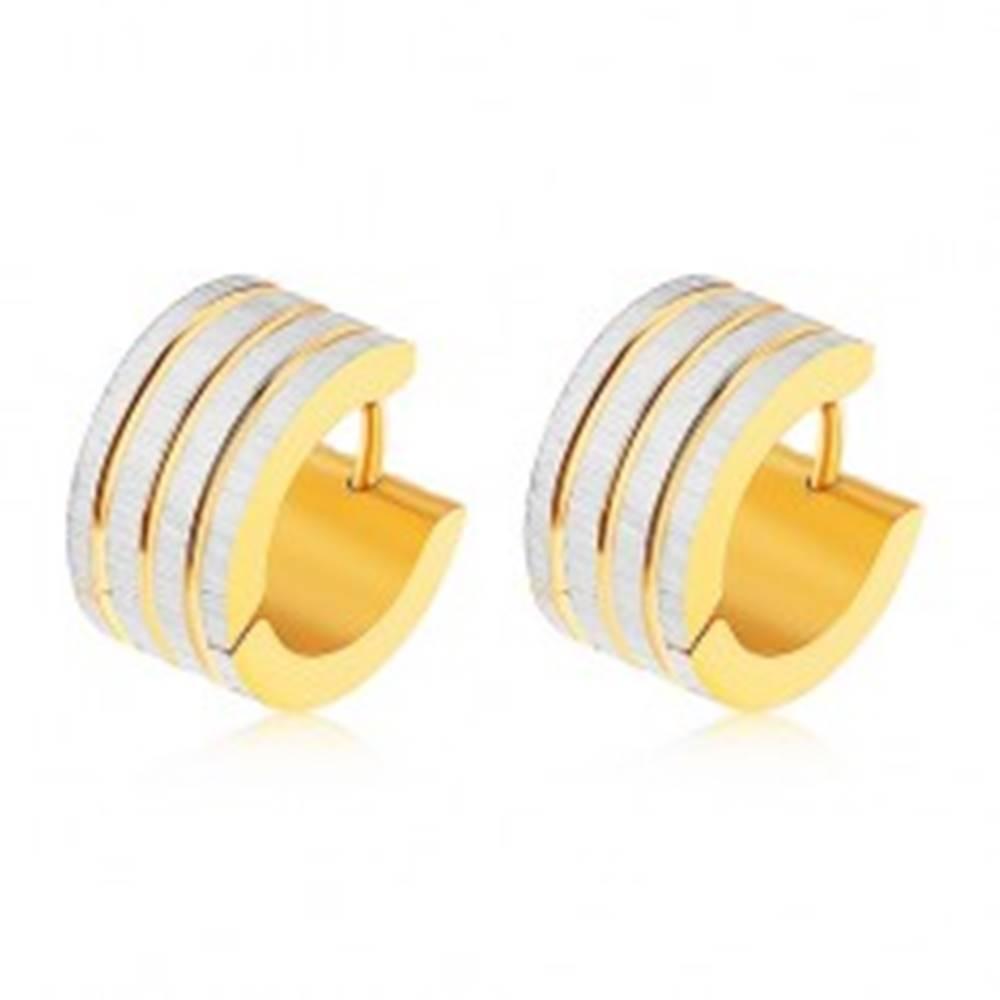 Šperky eshop Oceľové náušnice zlatej a striebornej farby, zvislé pásy s ryhovaným povrchom