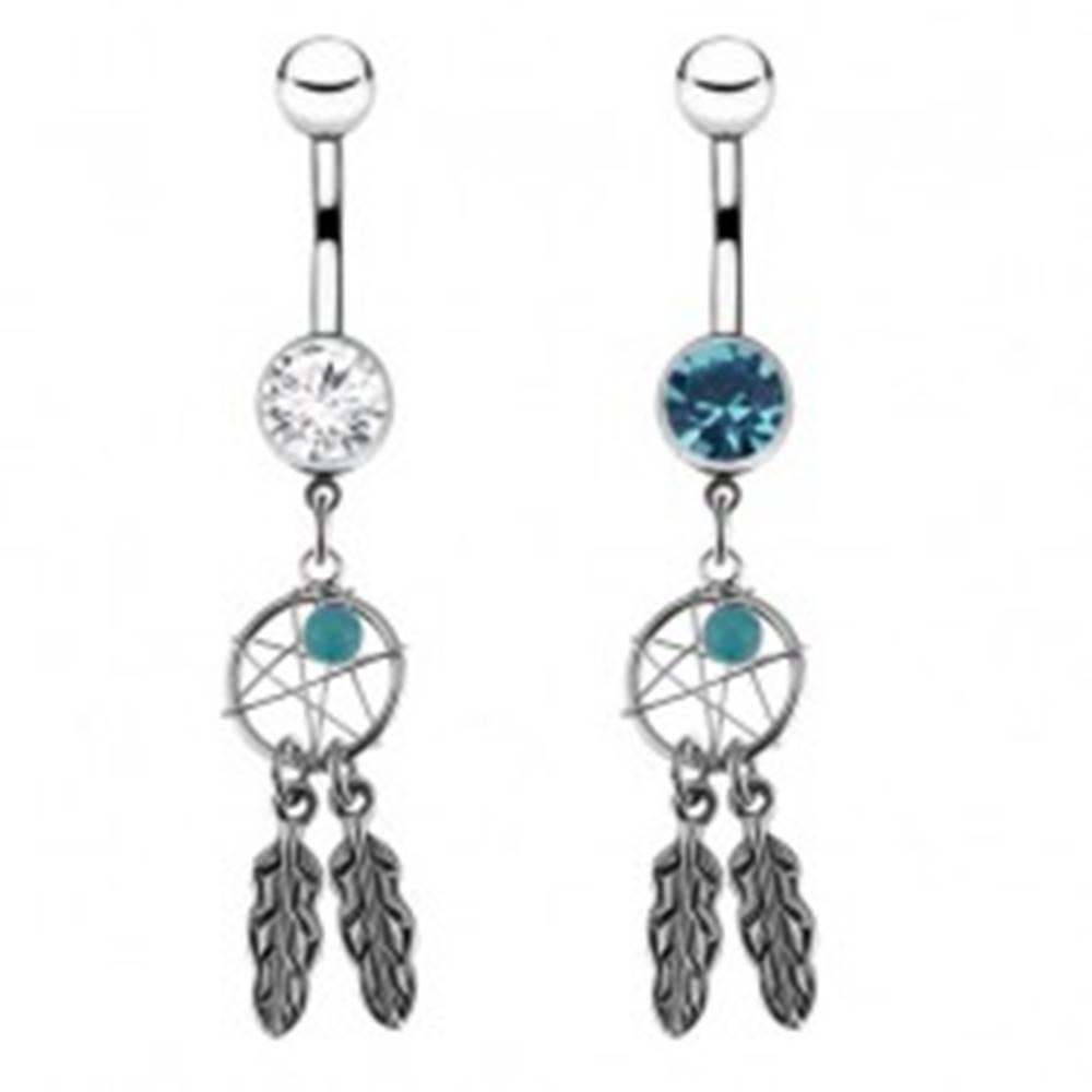 Šperky eshop Oceľový piercing do pupka - lapač snov, farebné zirkóny - Farba zirkónu: Číra - C