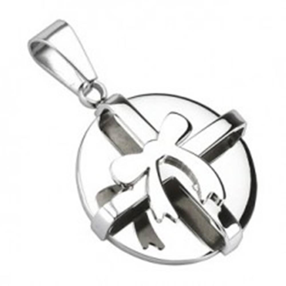 Šperky eshop Oceľový prívesok - okrúhly balíček striebornej farby s mašľou