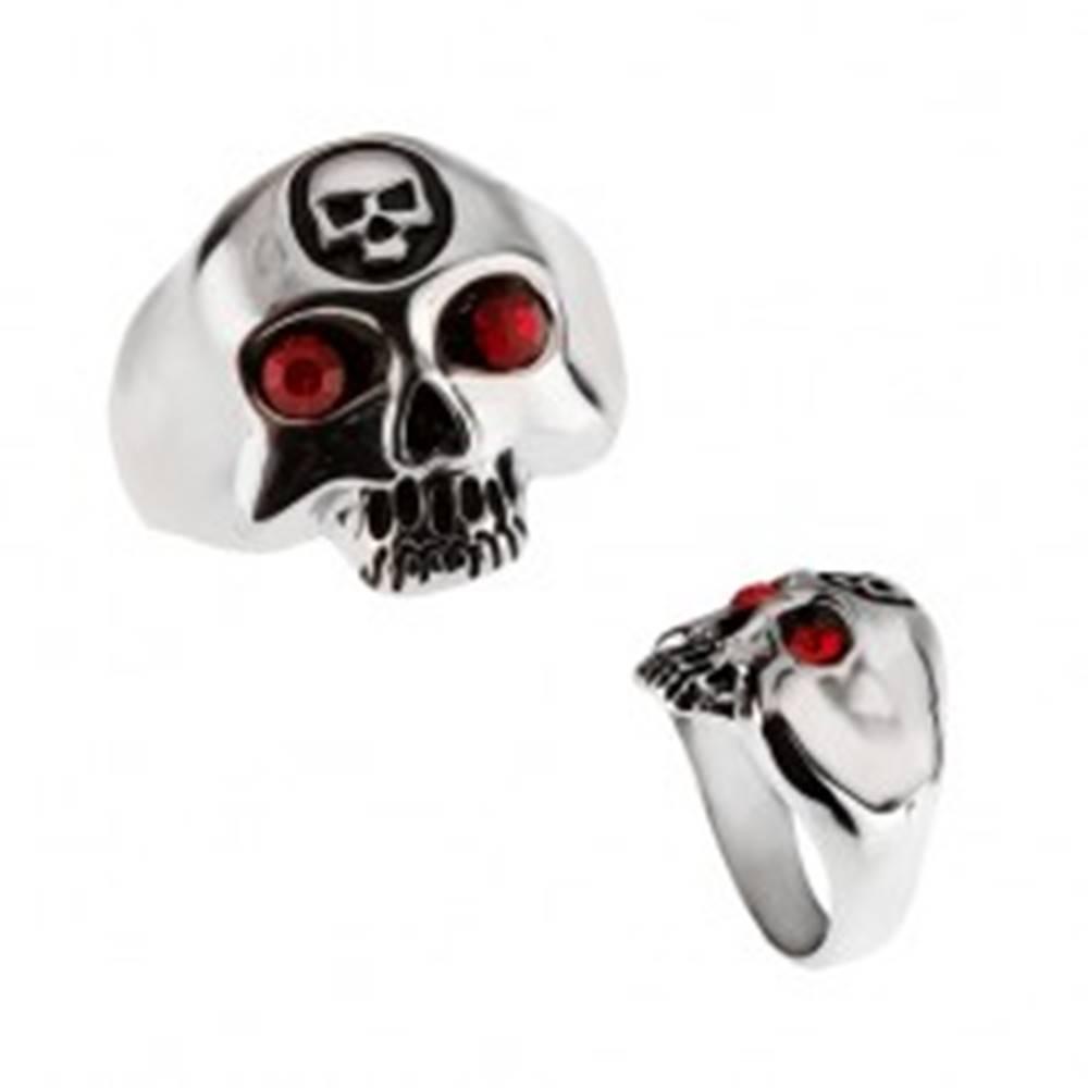 Šperky eshop Oceľový prsteň - lebka s menšou lebkou na čele - Veľkosť: 59 mm