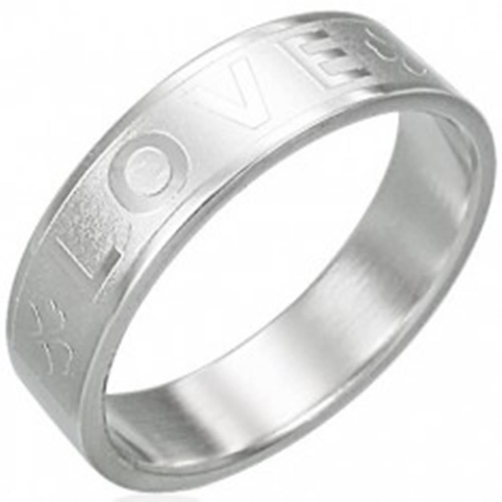 Šperky eshop Oceľový prsteň - LOVE, štvorlístok - Veľkosť: 51 mm