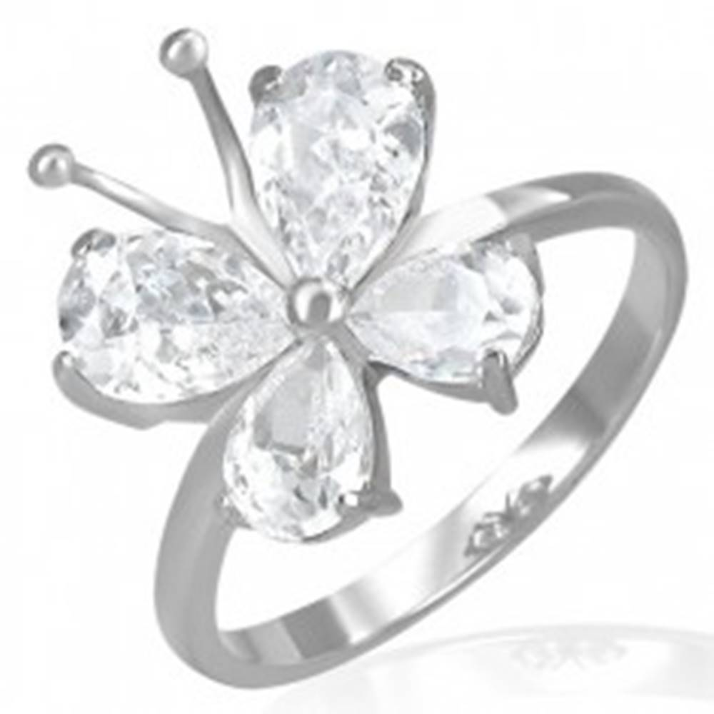 Šperky eshop Oceľový snubný prsteň - zirkónový motýlik s tykadlami - Veľkosť: 52 mm
