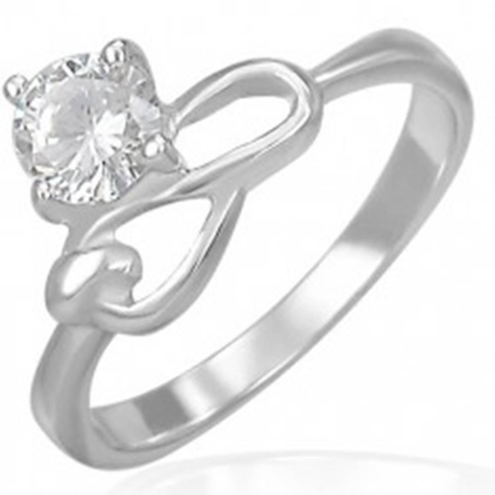 Šperky eshop Oceľový zásnubný prsteň - číry zirkón a symbol nekonečna - Veľkosť: 49 mm