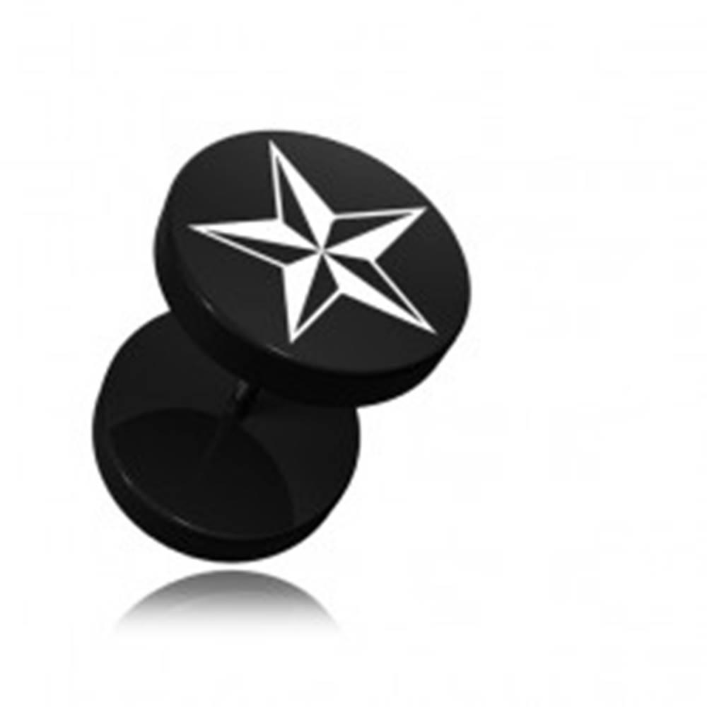 Šperky eshop Okrúhly fake plug do ucha z akrylu čiernej farby, potlač hviezdice