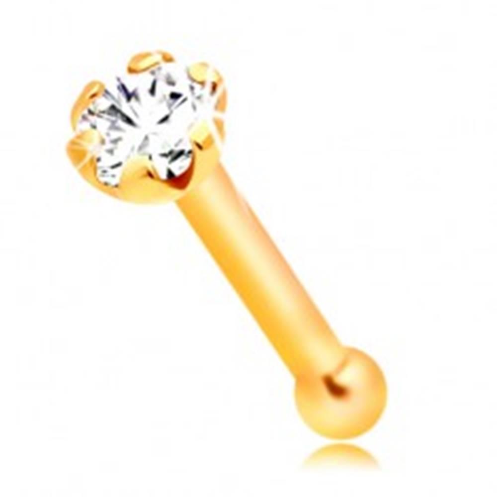 Šperky eshop Piercing do nosa zo žltého 14K zlata - rovný tvar, číry okrúhly zirkónik, 1,5 mm