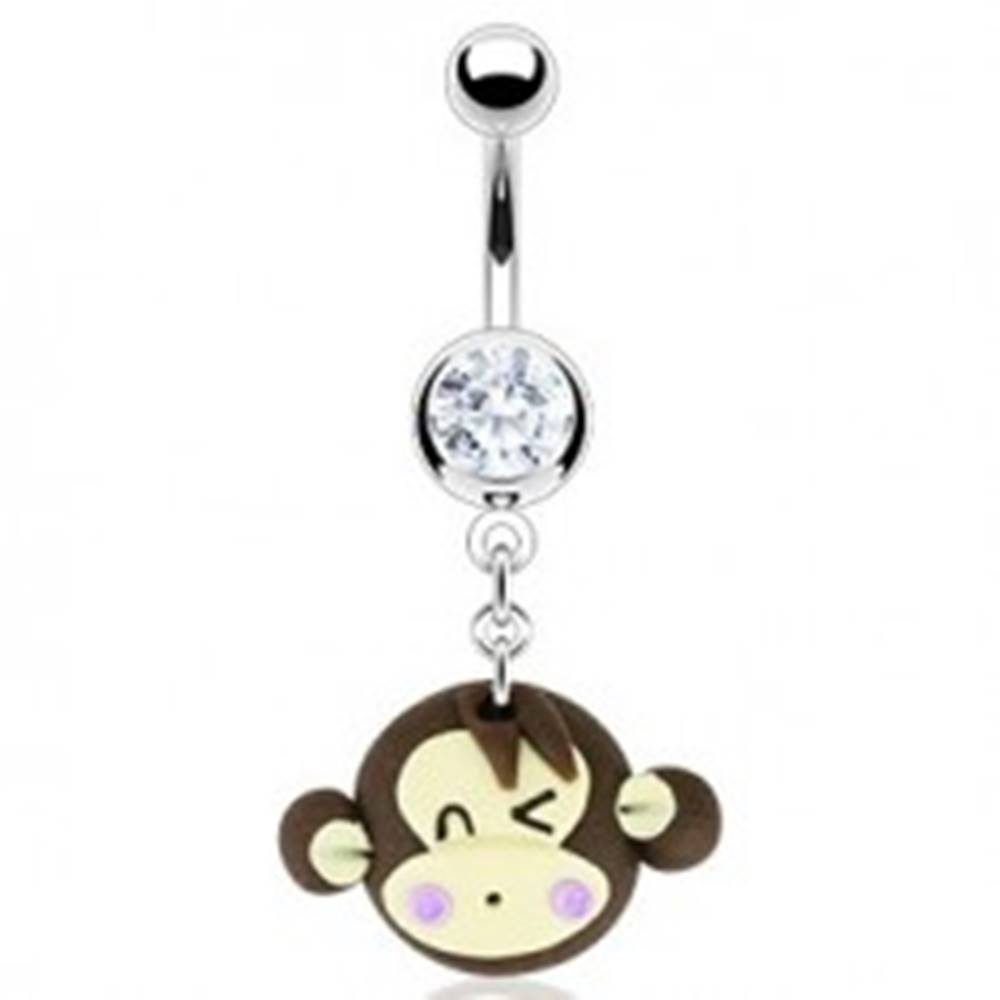 Šperky eshop Piercing do pupka - žmurkajúca Fimo opica