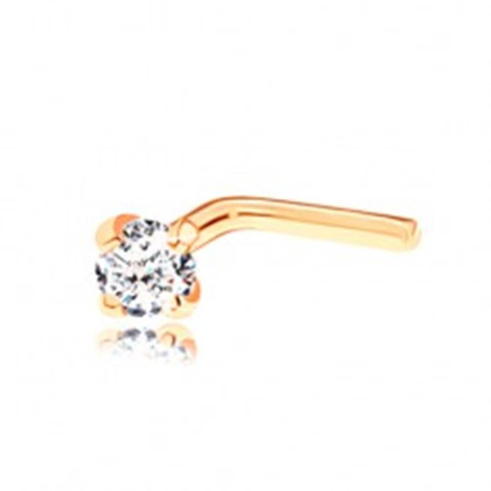 Šperky eshop Piercing v žltom 14K zlate, zahnutý tvar  - brúsený zirkónik čírej farby, 2 mm