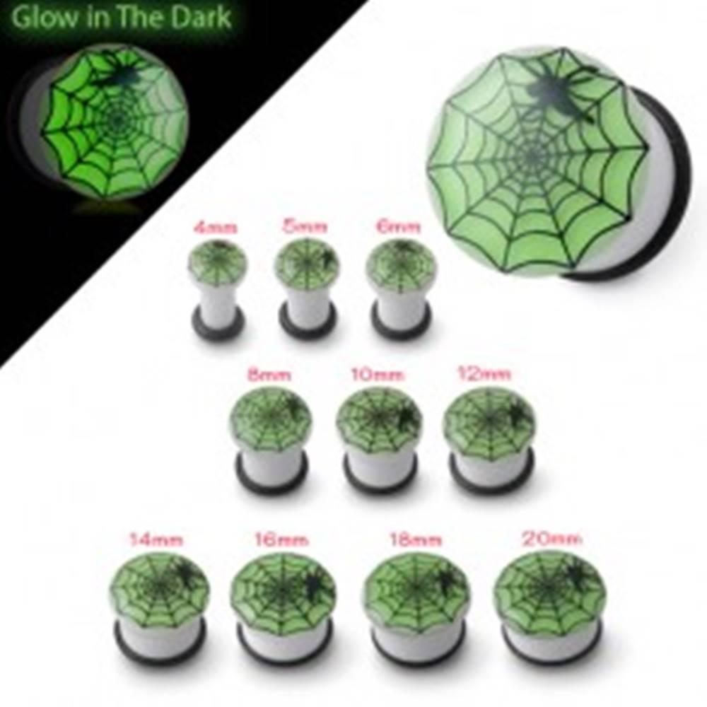 Šperky eshop Plug do ucha bielej farby svietiaci v tme, pavučina a pavúk - Hrúbka: 10 mm