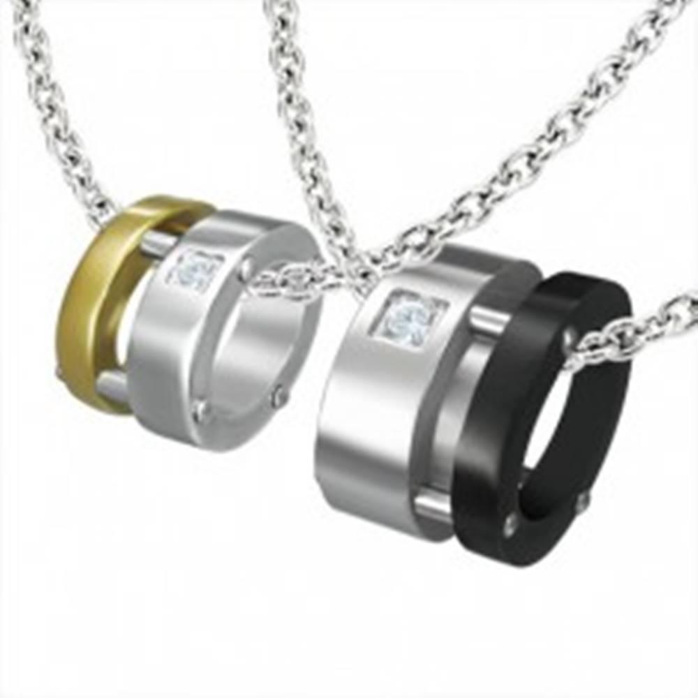 Šperky eshop Prívesok pre dvoch - elipsa, zlatá, čierna, strieborná farba, zirkóny