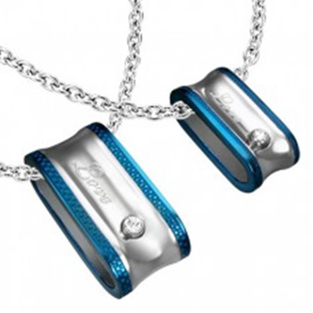 Šperky eshop Prívesok pre dvoch - elipsovitá obruč s nápisom a zirkónom