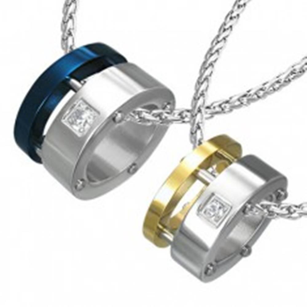 Šperky eshop Prívesok pre dvojicu - spájaná dvojitá obruč nitmi, zirkóny