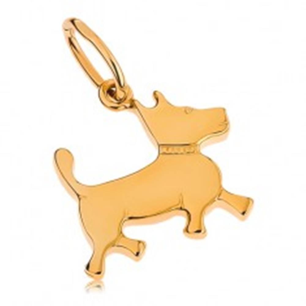 Šperky eshop Prívesok v žltom 9K zlate - malý psík s gravírovaným obojkom