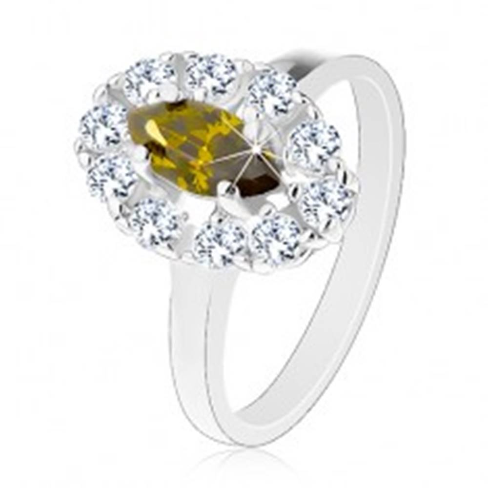Šperky eshop Prsteň s úzkymi ramenami v striebornom odtieni, zelené zirkónové zrno, číry lem - Veľkosť: 53 mm