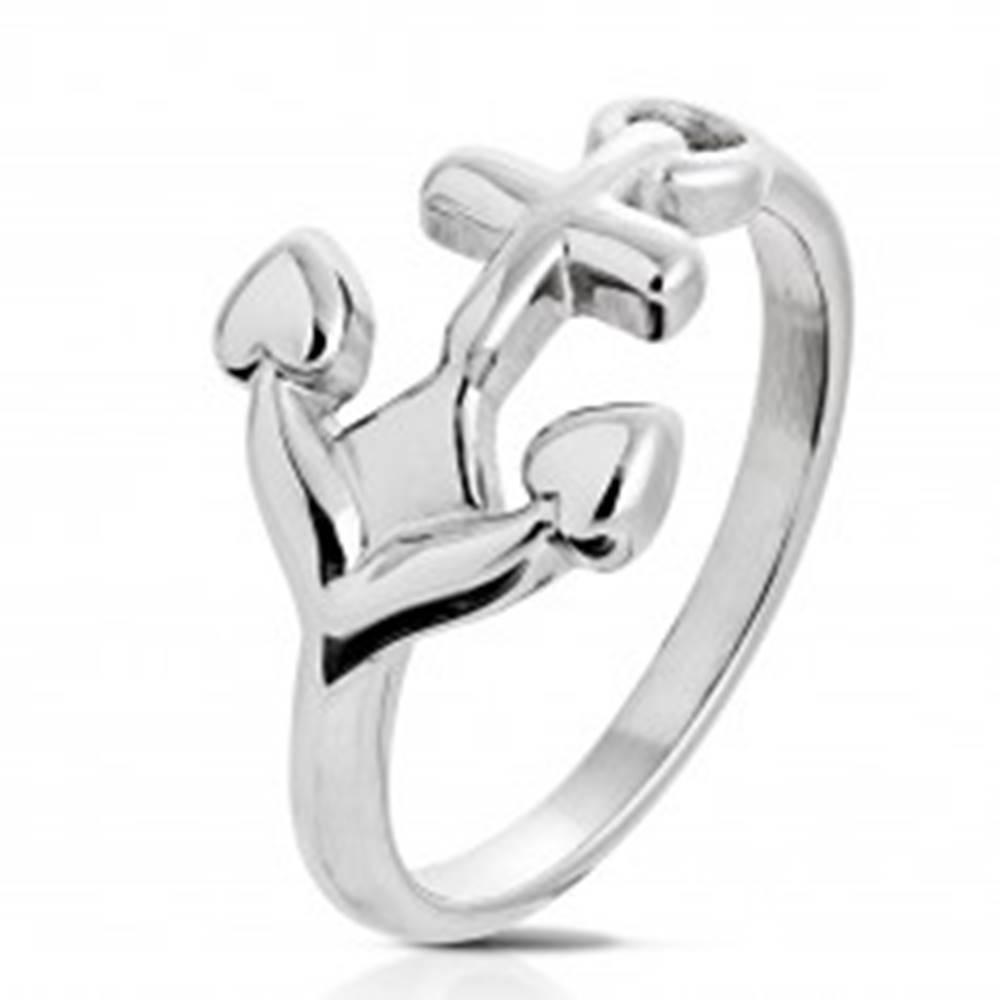 Šperky eshop Prsteň z chirurgickej ocele striebornej farby, lesklá kotva - Veľkosť: 49 mm