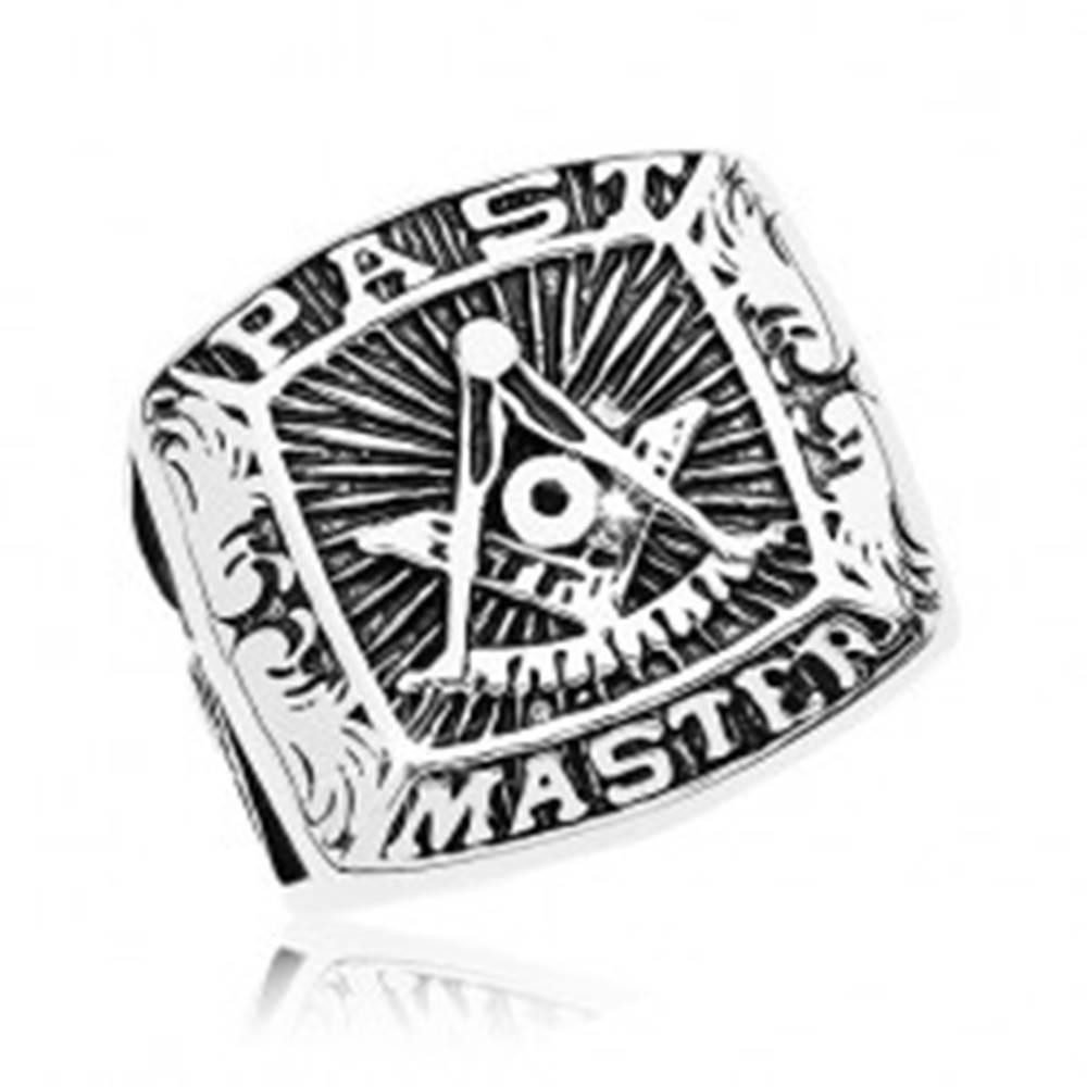 Šperky eshop Prsteň z chirurgickej ocele, symboly slobodomurárov a nápis, čierna patina - Veľkosť: 57 mm