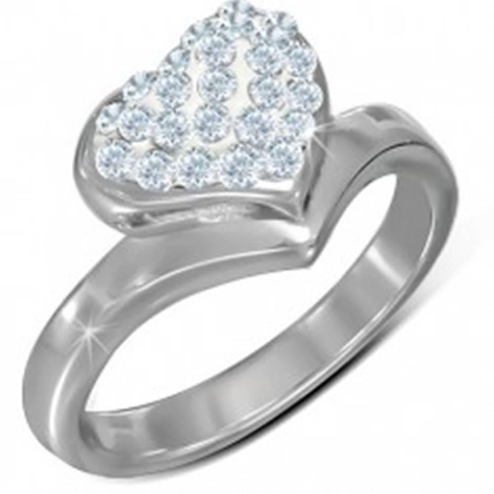 Šperky eshop Prsteň z chirurgickej ocele, veľké vypuklé zirkónové srdce - Veľkosť: 55 mm