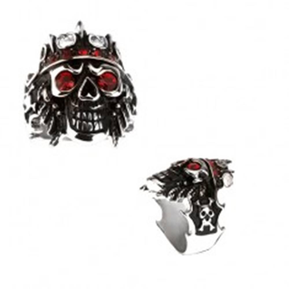 Šperky eshop Prsteň z ocele 316L - lebka s korunou, červené zirkóny - Veľkosť: 59 mm