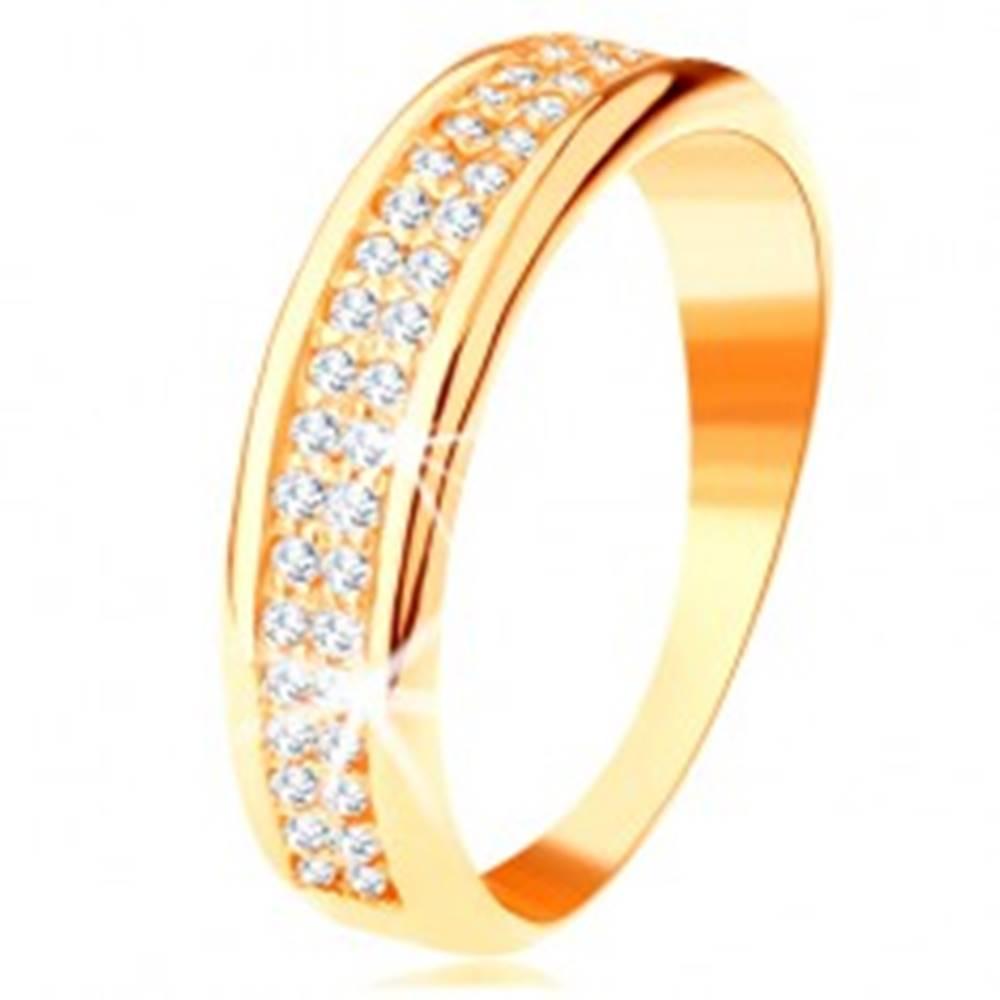 Šperky eshop Prsteň zo žltého 14K zlata - dva rady čírych zirkónikov, lesklé zaoblené okraje - Veľkosť: 49 mm