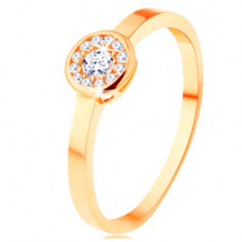 Šperky eshop Prsteň zo žltého 14K zlata - kruh vykladaný čírymi zirkónmi, lesklý lem - Veľkosť: 49 mm