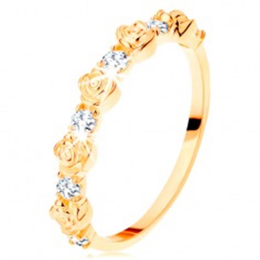 Šperky eshop Prsteň zo žltého 14K zlata - striedajúce sa ružičky a okrúhle číre zirkóny - Veľkosť: 49 mm