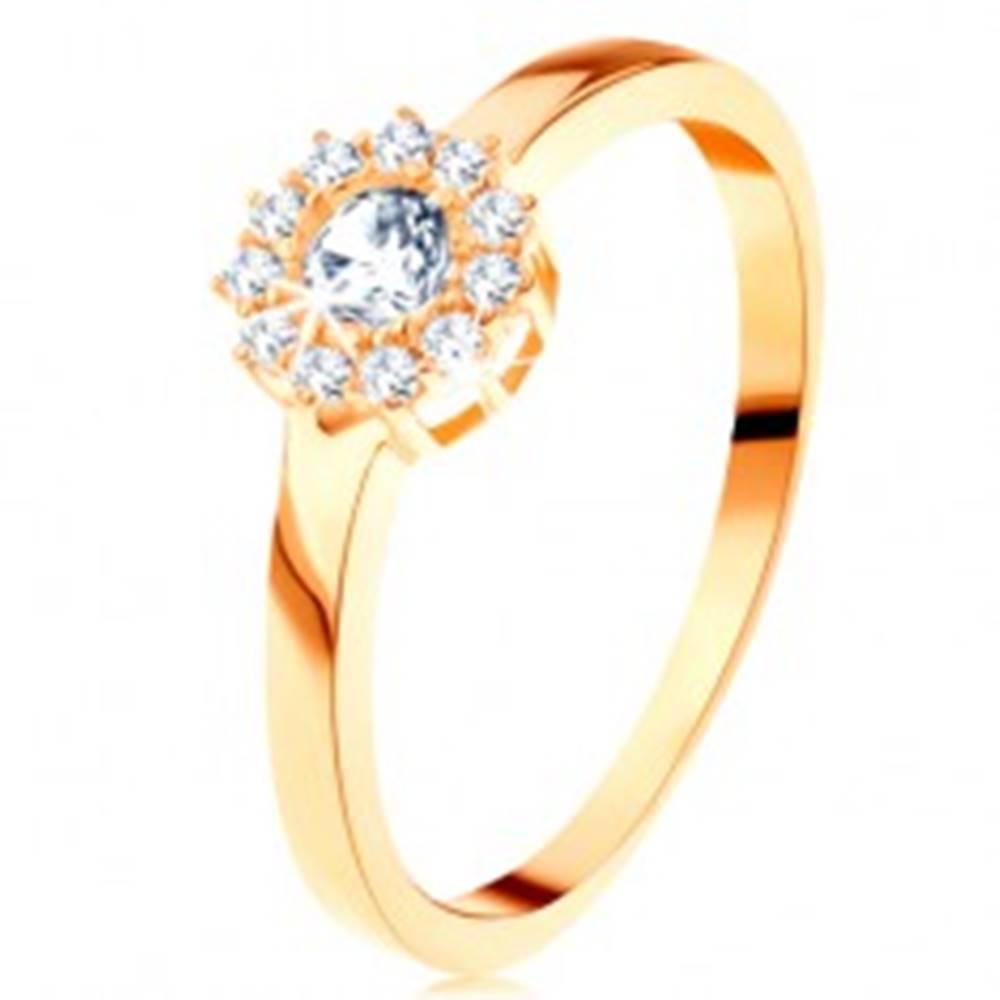 Šperky eshop Prsteň zo žltého 14K zlata - trblietavý kvet z okrúhlych čírych zirkónov - Veľkosť: 49 mm