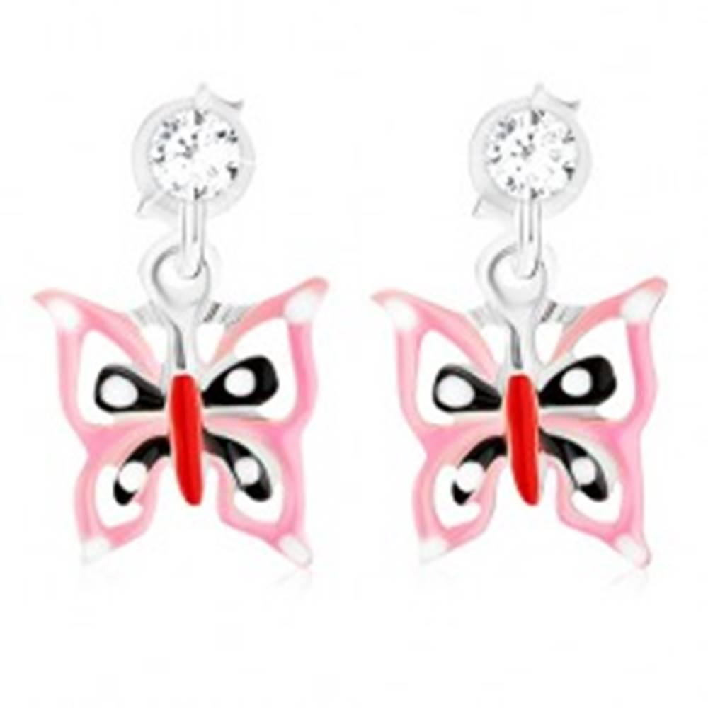 Šperky eshop Puzetové náušnice - striebro 925, glazúrovaný ružovo-čierno-červený motýľ