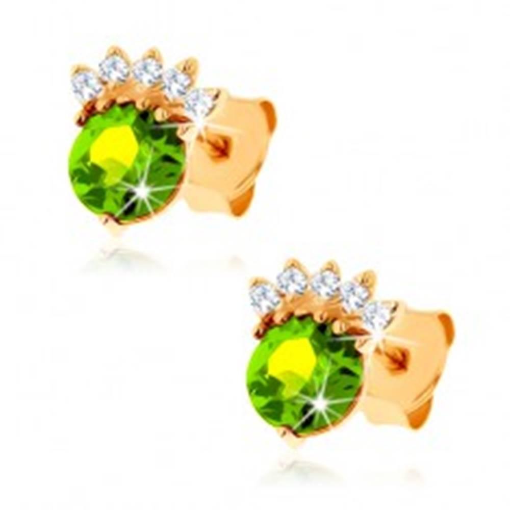 Šperky eshop Puzetové náušnice v žltom 9K zlate - okrúhly olivín zelenej farby, číra korunka