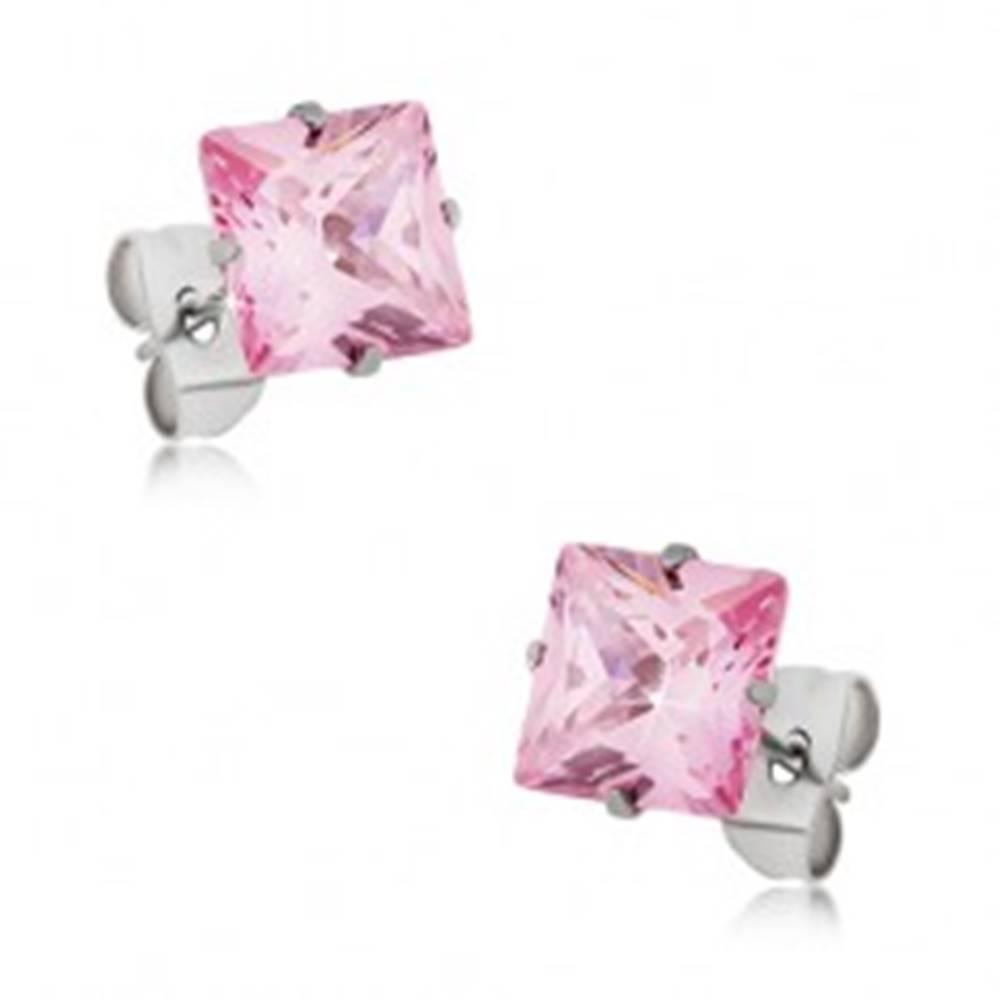 Šperky eshop Puzetové náušnice z ocele, ružový štvorcový zirkón - rôzne veľkosti - Rozmer: 4 x 4 mm