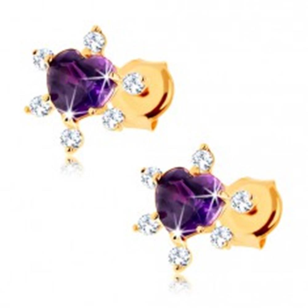 Šperky eshop Puzetové náušnice zo žltého 9K zlata - fialové srdiečko z ametystu, zirkóniky