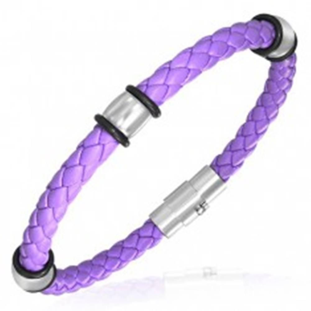 Šperky eshop PVC pletený náramok - oceľové krúžky, fialový