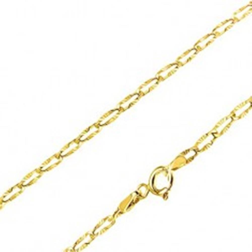 Šperky eshop Retiazka v žltom 14K zlate - ploché oválne očká, lúčovité ryhovanie, 490 mm