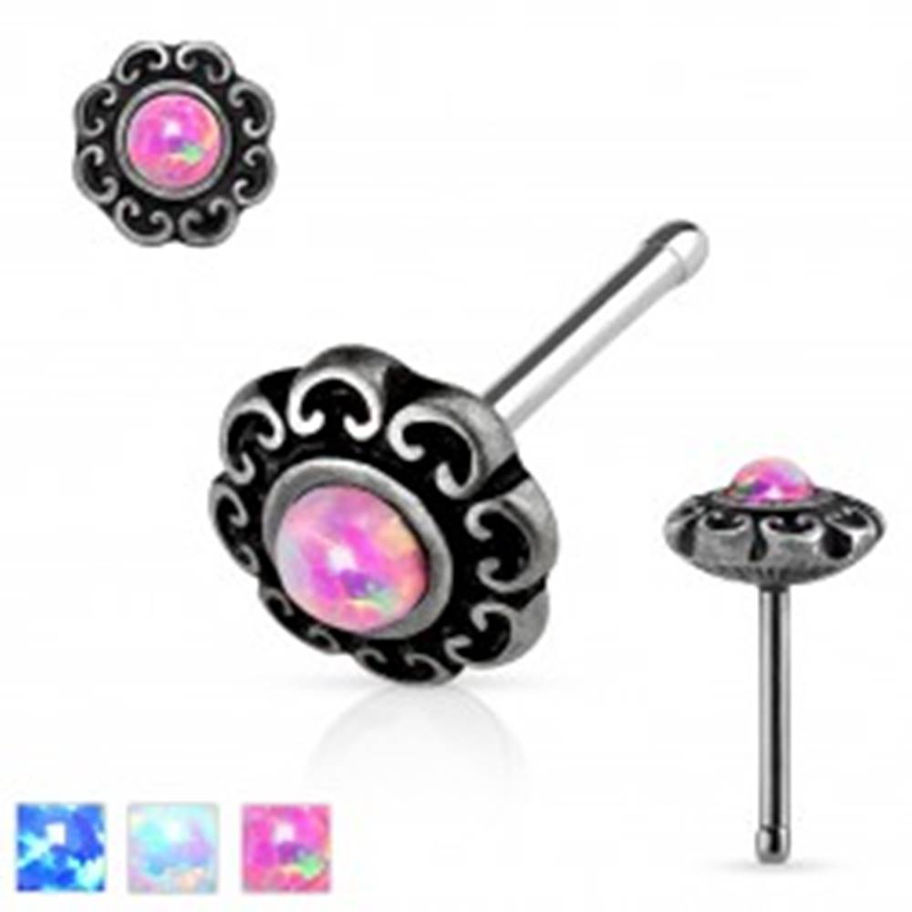 Šperky eshop Rovný oceľový piercing do nosa, patinovaný kvet so syntetickým opálom - Farba piercing: Biela