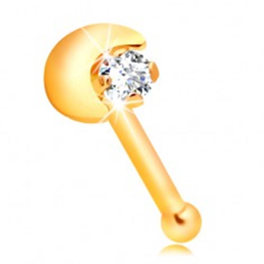 Šperky eshop Rovný piercing do nosa zo žltého 14K zlata, kosáčik mesiaca, číry zirkón